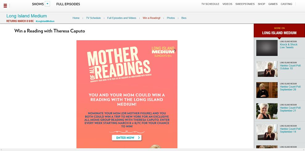 tlc.com/winareading - TLC's Long Island Medium Mother of All Readings Sweepstakes