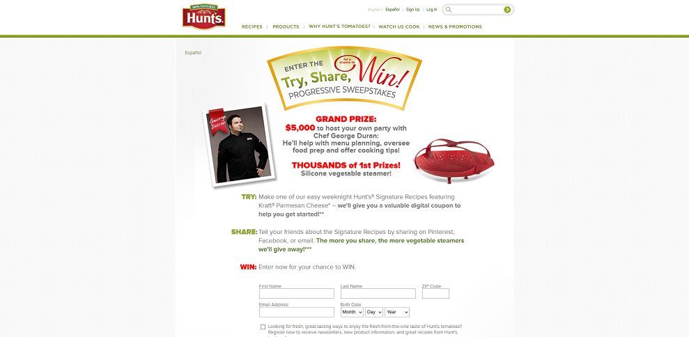 #3064-Signature Recipes Made with Hunt's Tomatoes & Kraft Cheese I Hunt's-www_hunts_com_try-share-win-progressive-sweepstakes