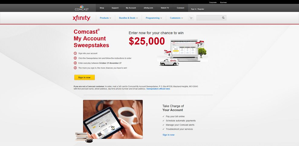 #3283-Comcast® My Account Sweepstakes - Sign in and enter for a Chance to WIN $25K-www_comcast_com_sweepstakes_html