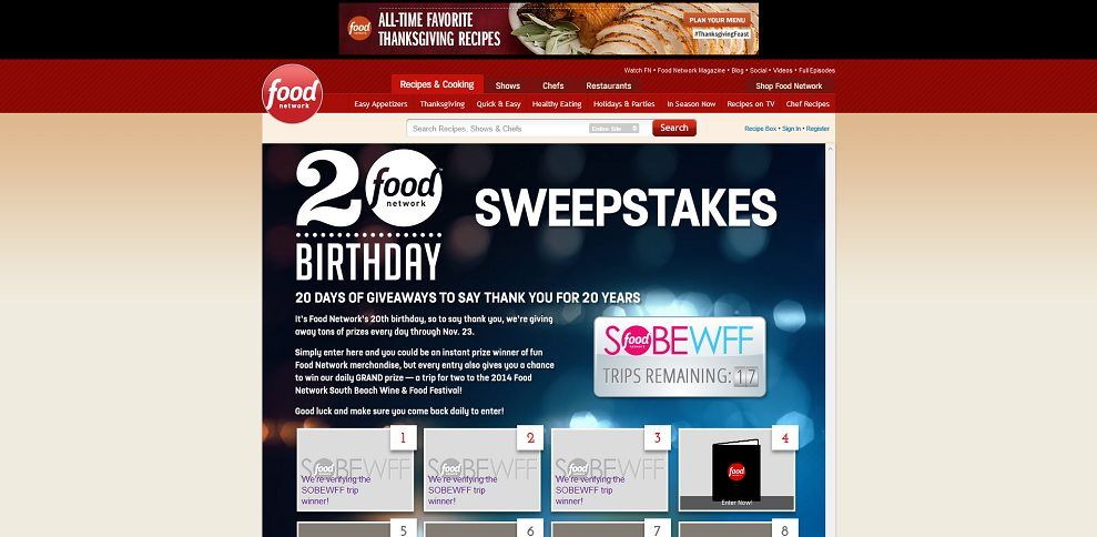 #3488-Food Network 20th Birthday Instant Win Sweepstakes-www_foodnetwork_com_birthday-giveaway_package_index_html