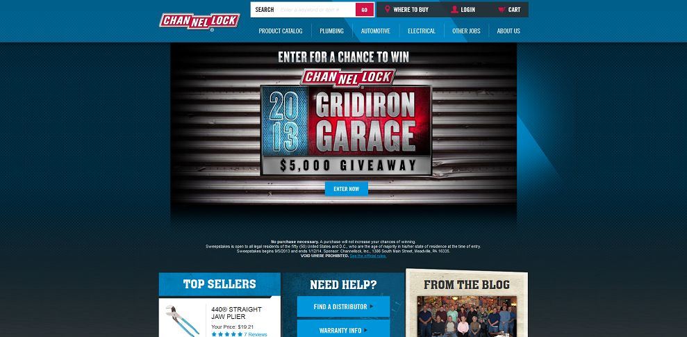 #3609-CHANNELLOCK 2013 Gridiron Garage Sweepstakes-www_channellock_com_sweepstakes_default_aspx