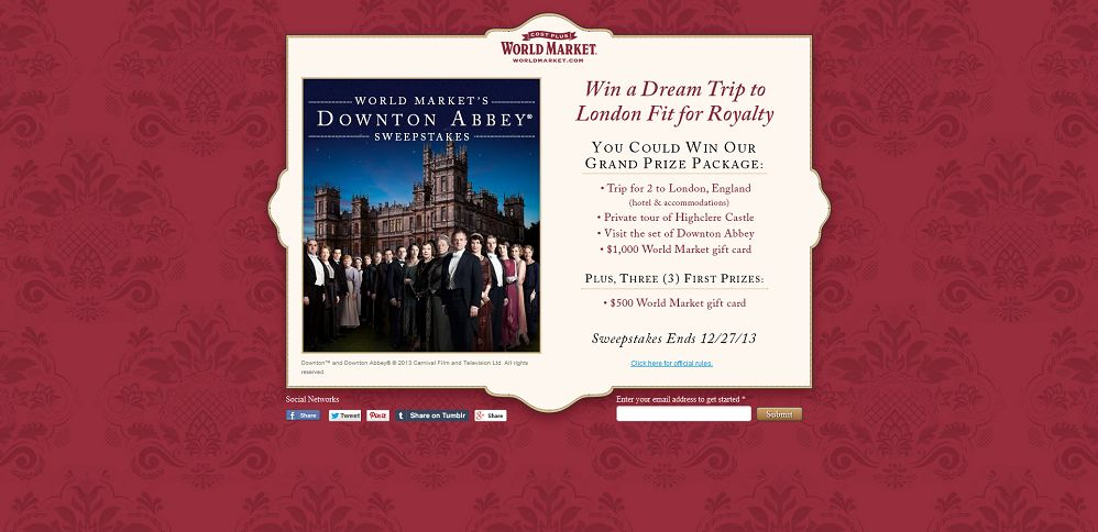 #3725-World Market's Downtown Abbey Sweepstakes-www_worldmarketsweepstakes_com