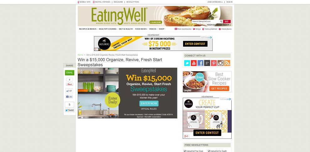 #3788-Win a $15,000 Organize, Revive, Fresh Start Sweepstakes I Eating Well-www_eatingwell_com_organize-sweepstakes