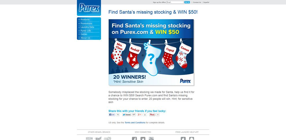 #3805-WIN $50 in Santa's Scavenger Hunt from Purex-www_purex_com_santas-missing-stocking-sweepstakes
