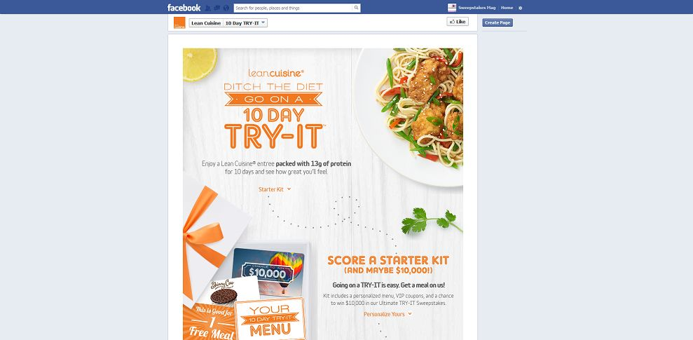 Lean cuisine try it program sweepstakes for 10 day try it lean cuisine