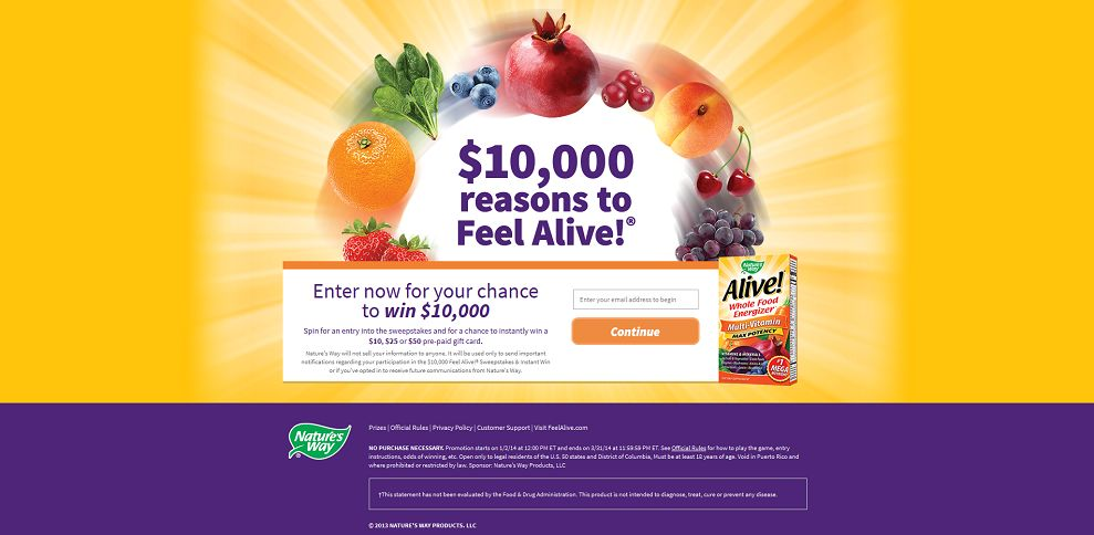 #4285-$10,000 FEEL ALIVE!® SWEEPSTAKES & INSTANT WIN - Welcome-play_feelalive_com