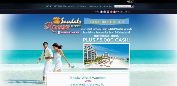 Wheel of fortune sandals resorts sweepstakes 2018
