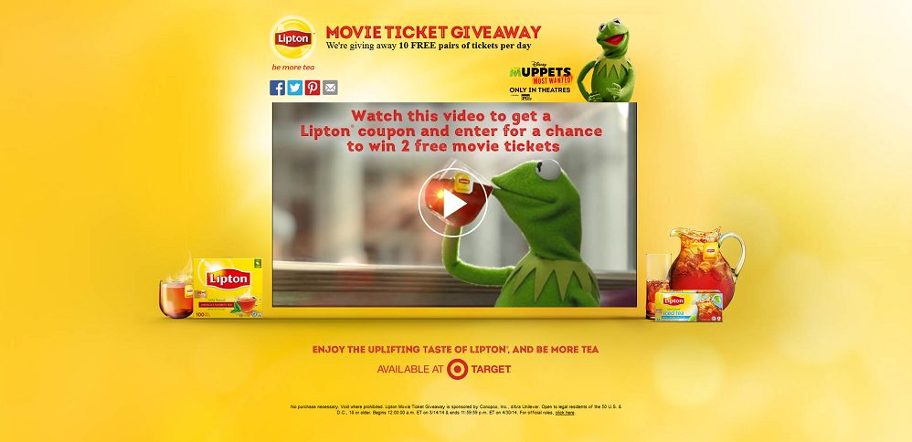 #5153-Lipton® Movie Ticket Giveaway-unileverpromo_com_target_liptonmuppets