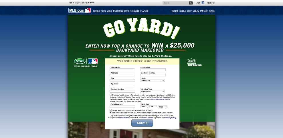 #5373-Go Yard Sweepstakes presented by Scotts I MLB_com_ Fan Forum-mlb_mlb_com_mlb_sweepstakes_y2014_mlb_scotts_form_jsp