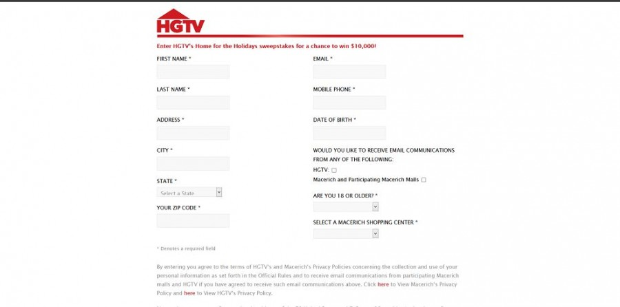 Hgtv sweepstakes entry form autos post for Winners of hgtv dream homes where are they now