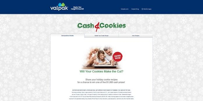 Valpak Cash 4 Cookies Sweepstakes