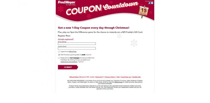 Fred Meyer Coupon Countdown Instant Win Game (FredMeyer.com/Holiday)