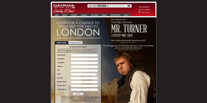 Cinemark's Mr. Turner Sweepstakes