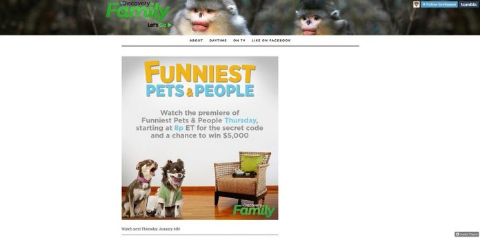 Discovery Family Funniest Pets & People Sweepstakes (discoveryfamilychannel.com)
