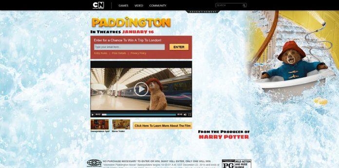 Cartoon Network Paddington Movie Sweepstakes (cartoonnetwork.com/paddington)