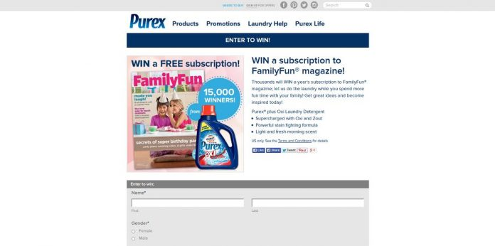 Purex WIN A Subscription To FamilyFun Magazine Sweepstakes