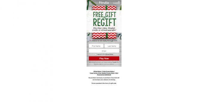 Trulia Free Gift or Regift Instant Win Game