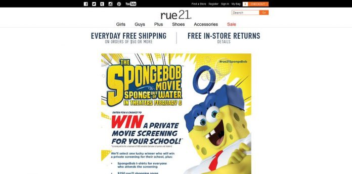 rue21 Sponge Bob Private Screening Sweepstakes - rue21.com/SpongeBob