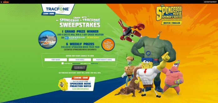 Cruise With SpongeBob And TracFone Sweepstakes - Nick.com/TracfoneCruise