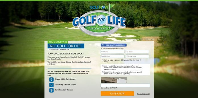 GolfNow's Free Golf For Life Sweepstakes