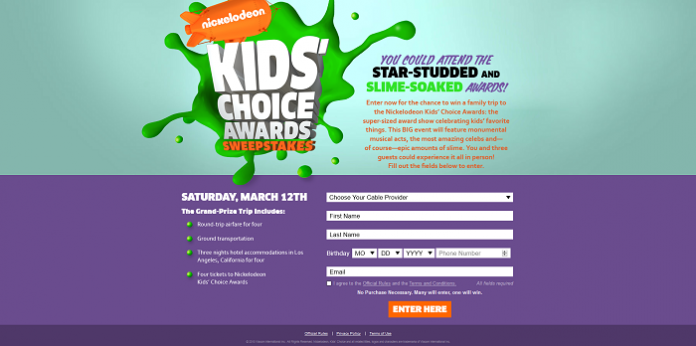 2016 Nickelodeon Kids' Choice Awards Sweepstakes