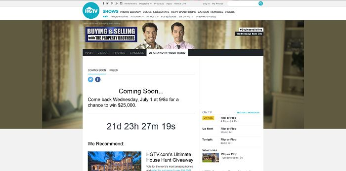 www.HGTV.com/25Grand - HGTV 25 Grand in Your Hand Sweepstakes - Code Word