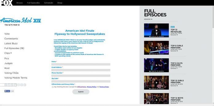 American Idol Finale Flyaway to Hollywood Sweepstakes