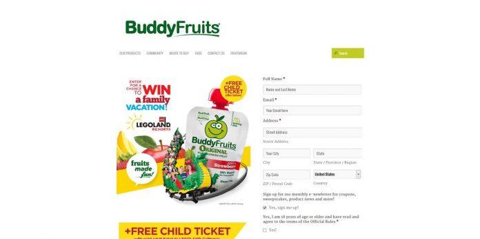 Buddy Fruits Legoland Sweepstakes