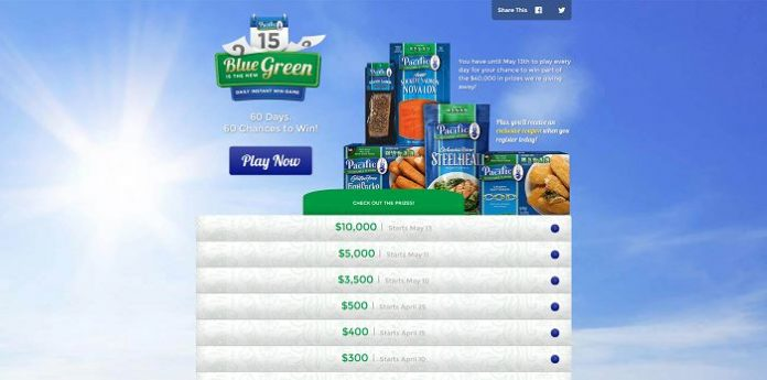 Pacific Sustainable Seafood Blue is the New Green Daily Instant Win Game