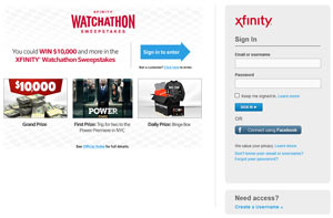 XFINITY Watchathon 2016 Sweepstakes Entry Form