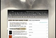 Game of Thrones: The Exhibition World Tour Sweepstakes