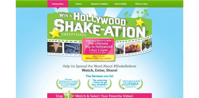 Dole Win a Hollywood Shake-ation Promotion
