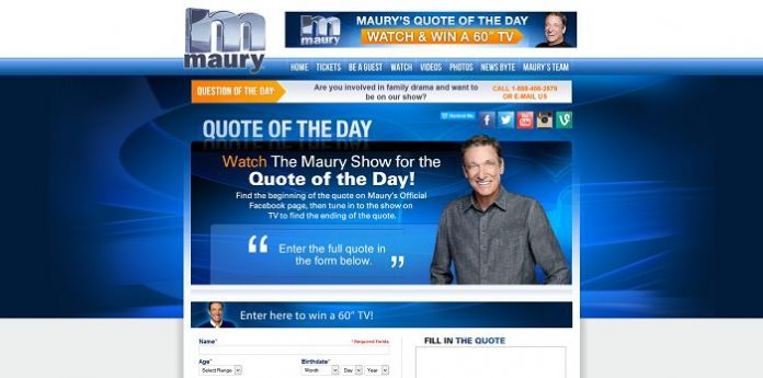 Maury's Quote of the Day Sweepstakes