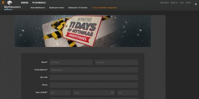 ScienceChannel.com/Giveaway - MythBusters' 11 Days of MythMas Sweepstakes