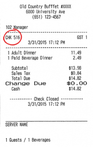 receipt chk number