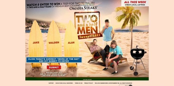 MalibuDreamGetaway.com - Two And A Half Men SweepSTEAKS