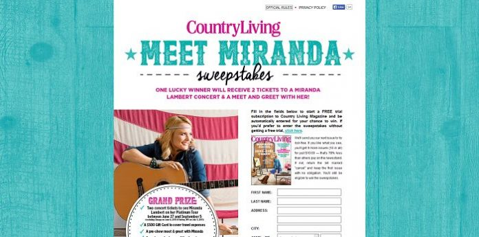 Miranda Lambert Country Living Sweepstakes (Miranda.CountryLiving.com)