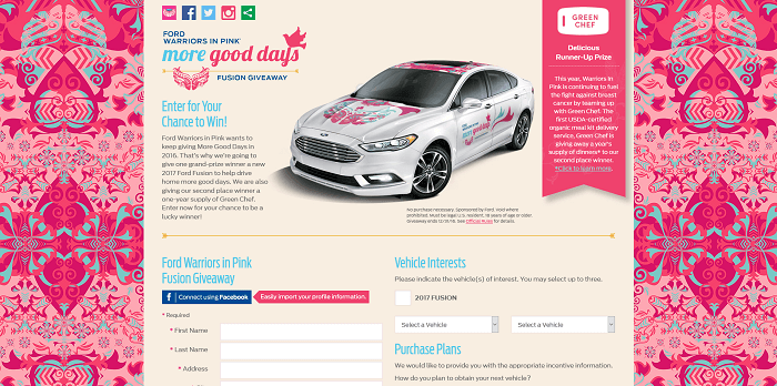 ford warriors in pink sweepstakes 2016. Cars Review. Best American Auto & Cars Review
