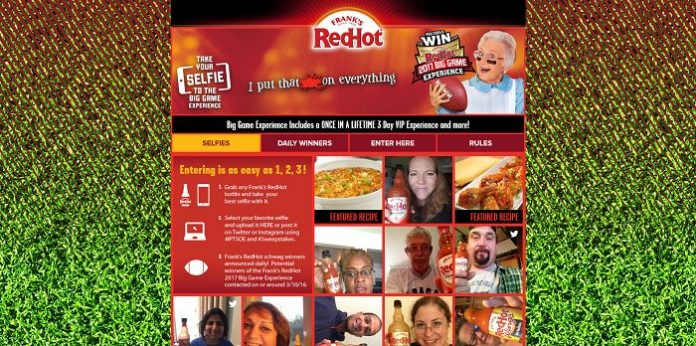 Frank's RedHot Selfie Your Way To The Big Game Experience Sweepstakes