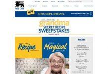 Food Lion Grandma's Secret Recipe Sweepstakes