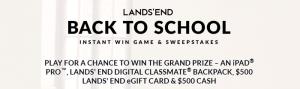 LandsEnd.com/BackToSchoolSweeps - Lands' End Back To School Sweepstakes 2016