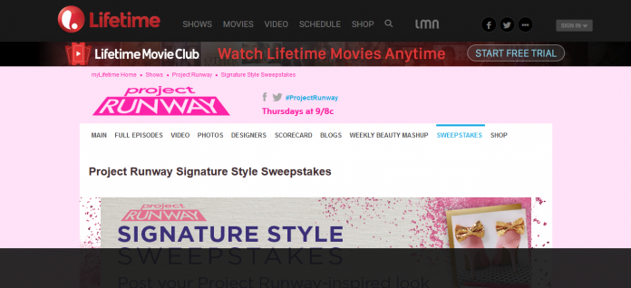 MyLifetime.com/SignatureStyle - Project Runway Signature Style Sweepstakes