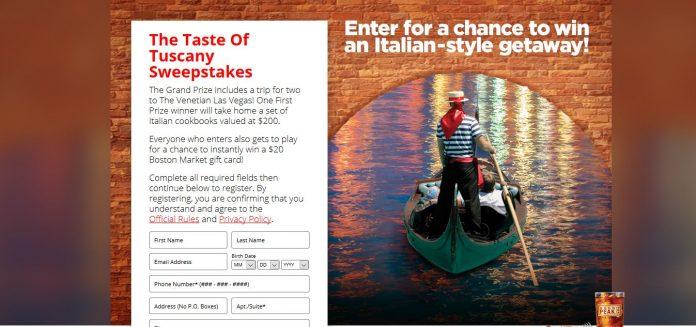 TasteOfTuscanySweeps.com - Taste of Tuscany Sweepstakes