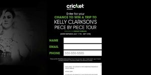 Cricket Wireless VIP Concert Fly Away Sweepstakes (CricketSweepstakes.com/KellyClarkson)