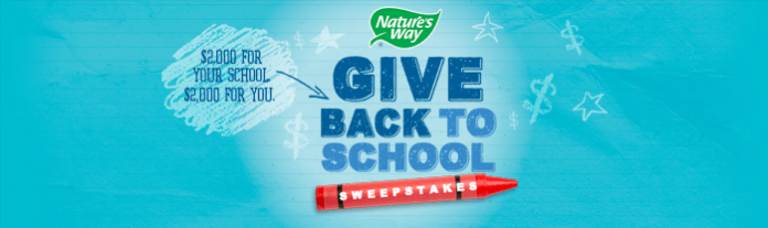 Nature's Way Give Back to School Sweepstakes 2016