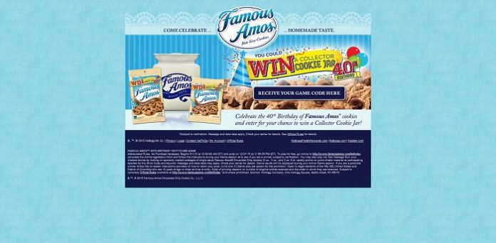 Famous Amos 40th Birthday Instant Win Game (Famous-Amos.com/Birthday)