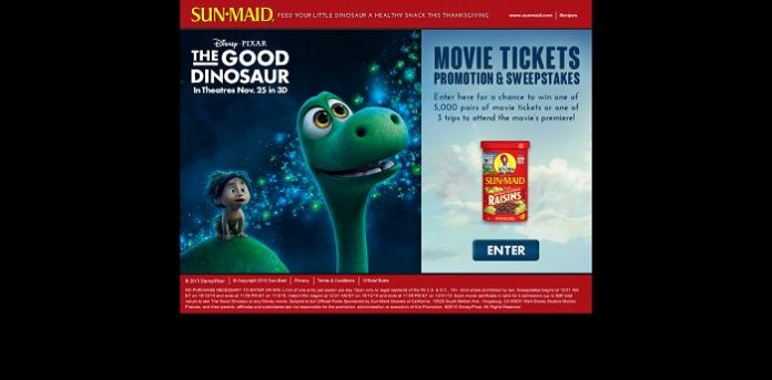 SunMaidOffer.com - Sun-Maid's The Good Dinosaur Movie Ticket Promotion