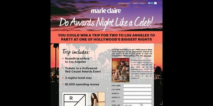 Marie Claire Hollywood Red Carpet Party Sweepstakes