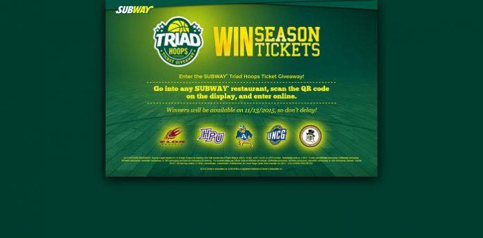 TriadHoopsTicketGiveaway.com - SUBWAY Triad Hoops Tickets Giveaway