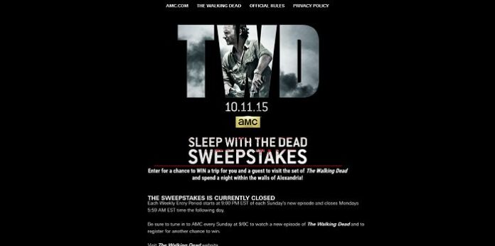 The Walking Dead Sleep With The Dead Sweepstakes
